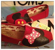 Mickey and Minnie Custom Toms Shoes by CustomTOMSbyJC on Etsy. , via Etsy.