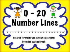 FREEBIE! Number Lines 0-20 Color and Black & White~Print, laminate and cut for durability and use all year long! #NumberLine #Free