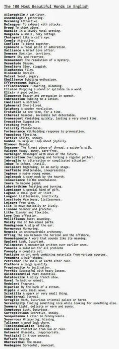 The 100 Most Beautiful Words in English by Robert Beard, the author of the Word of the Day at yourDictionary.com, via theharissisters #Words #English