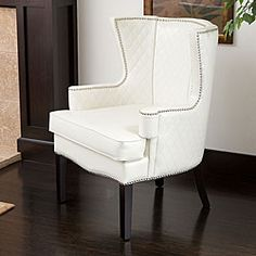 $326.99 Roma White Quilted Bonded Leather Arm Chair