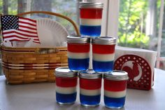 Patriotic Jello Jars patriotic mason jars, jello jar, holiday jello recipes, jello desserts, food, patriot jello, juli, 4th, holiday desserts