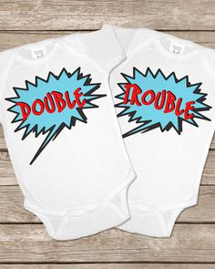 Double Trouble Twinsie Set Two Twin Twins Onesies Baby Gifts Set Matching Outfits Girls Boys Shirt , I love this for if someone has twins.