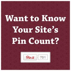Want to know your blog's pin count?  Just type in your blog address and find out!