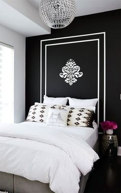 painted frames, crystal chandeliers, at home, headboard, garden stools, white walls, bedroom, accent walls, girl rooms
