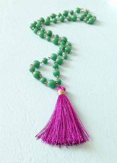 Purple green beaded tassel necklace statement jewelry by erinkeys, $22.00 tassel necklac