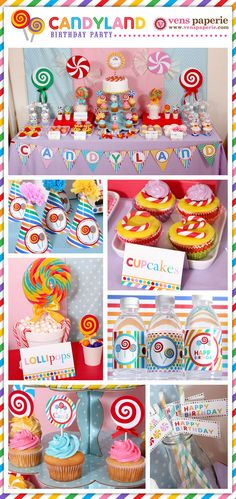 Candyland Birthday Party Package Personalized FULL Collection Set - PRINTABLE DIY - PS832x. $35.00, via Etsy.