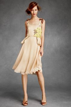 BHLDN Citrine Rose Peplum Dress $650