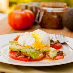 Poached Eggs with Pesto and Tomatoes   #easy #gluten #free #breakfast #recipes