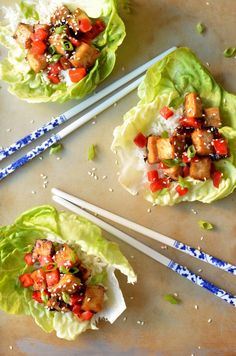 Very veggie, very delicious. Teriyaki-Glazed Tofu Lettuce Cups.