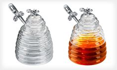 Honeybee-Decorated Honey Pot with Dipper Deal of the Day | Groupon