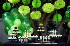 Green and black dessert table