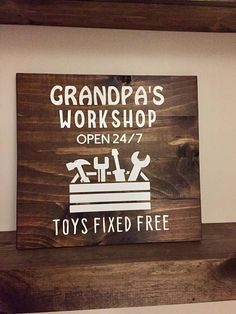 Grandpas Workshop // Wooden Sign for Grandpa Daddy Papaw // Father's Day Gift // Gift for Grandpa Birthday Christmas // Fathers Day 15 x 15