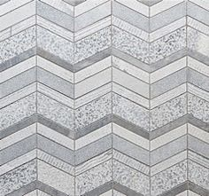 "From Walker Zanger's new ""Shift"" collection - the Chevron mosaic in multi-textured Grey Marble."
