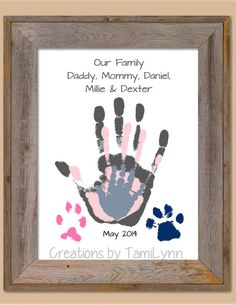 Family and Pet Handprint Art - Home Decor, Mother's Day, Father's Day, Birthday or Grandparent Gift grandparent gifts, father day, famili, pet, fathers day present from baby, handprint art fathers day