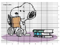 Lots of  free Snoopy cross stitch patterns  - snoopy reading.
