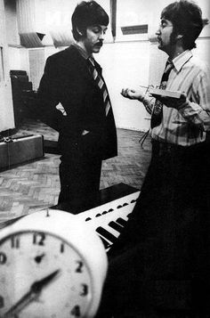 """Sgt Pepper sessions 1967 - Paul, John, and the alarm clock heard in the middle of """"A Day In the Life""""."""
