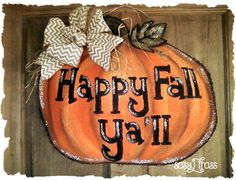 Sassy Pumpkin Burlap Door Hanger by SassyFrassOriginals on Etsy, $35.00