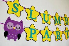 Night Owl Slumber Party Banner by Pinwheel Lane on etsy