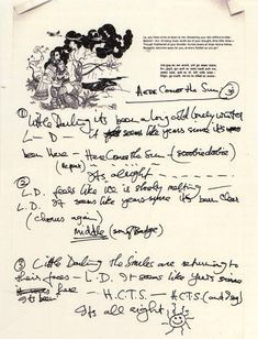 Handwritten lyrics to Here Comes The Sun by George Harrison