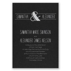 foil wedding invitation I modern flair I shown on black shimmer with matte white foil