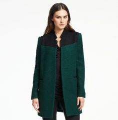Color-Blocked Boucle Wool Coat - Kenneth Cole