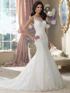Wedding Gowns By David Tutera For Mon Cheri Fall 2014-- I love how this is a lacey, mermaid style, but it isn't strapless!