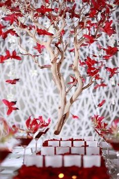 red butterfly wedding decor- I would LOVE this on the table where people get their placecards for seating.