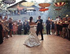 Hanging umbrellas add charm to this outdoor reception First Dance, Futur, Dance Floors, Dream, Event, Dinner Parties, Ceiling Decor, Umbrella Decoration, Wedding Umbrellas