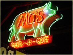 San Luis Obispo Night Lights    Mo's BBQ, Pismo Beach #old #sign