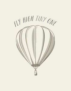 fly high TINY one // Girl & Boys Nursery Art // Vintage Hot Air Balloon // Unique Baby Shower Gift. $16.00, via Etsy.