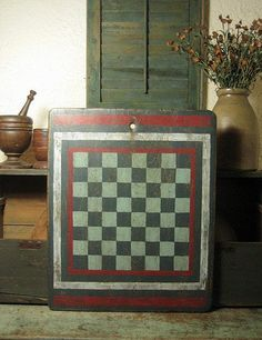 Outstanding Old Antique Red, White and Blue Primitive Painted Game Board