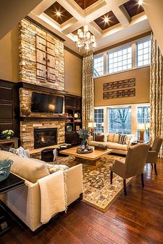 2 Story Family Room. Carriage Hill - The Creeks, by M/I Homes. Interior Design by Mary Cook Associates. Photography by Steve Ziegelmeyer. www.marycook.com