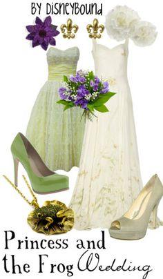 . wedding dressses, idea, fashion, disney princess, disney bound, disneybound, princesses, frogs, disney weddings