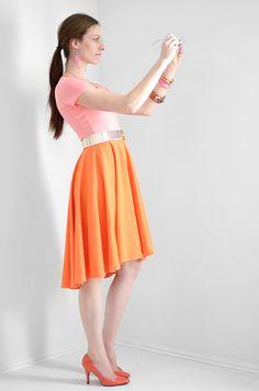 DIY PATTERN -orange-pink-high-low-dress-sewing-tutorial-3