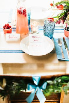 4th of July table - photo by Julie Lim, styling by Sarah Park Events, invitations by just Write Studios - http://ruffledblog.com/watercolored-fourth-of-july-inspiration/