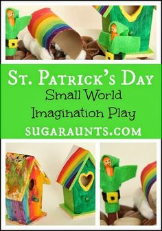 St. Patrick's Day small world for pretend play and imagination. By Sugar Aunts