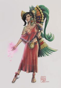 """Xochiquetzal by Ehecatzin, aztec goddess whose name means """"flower feather"""", goddess of beauty and love"""
