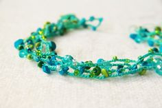 Mint necklace / bracelet  - Long crocheted versatile jewelry