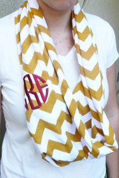Monogrammed chevron infinity scarf in garnet and gold...pretty sure I need this!