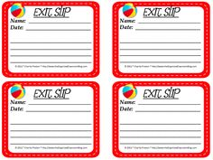 Classroom Freebies: Free Beach Themed Exit Slips!