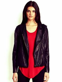 So chic -- Helmut Lang hooded leather jacket.  Saks Fifth Avenue