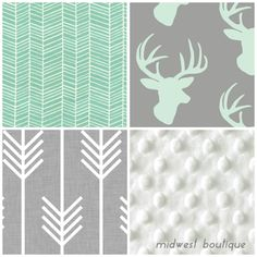 baby bedding 3 piece  deer and arrows by midwestboutique on Etsy, $185.00