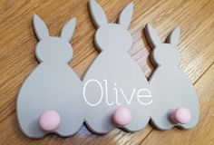 Bunny Coat Pegs - Can be customised in any colour & any name added.