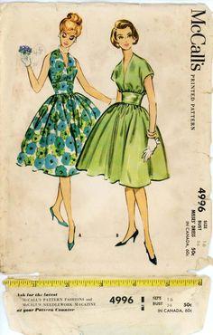 McCalls 4996 Misses 1950s Dress