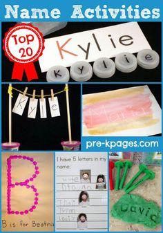 Top 20 Name Recognition Activities for #preschool and #kindergarten