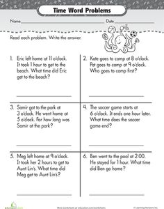 Elapsed Time Word Problems Worksheets on word problems time worksheets