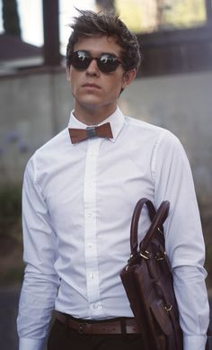 Wooden bow tie and Ben Minkoff bag.