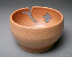 Nutmeg fleur de lis Yarn Bowl by HurricanePottery on Etsy