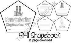 Remembering September 11th / 9-11 Shape Book from 1 2 3 Creations by L Ackert on TeachersNotebook.com -  (11 pages)  - Looking for a small memorial type project for your students to remember 9-11? Here is a small 11 page shapebook that can be used for students to create their very own memorial. Use in centers, as home