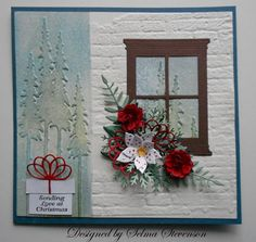 Selma's Stamping Corner: Madison Window die scene with a brick background.  I need to get this embossing folder!